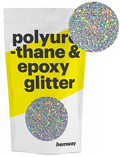 Hemway Metallic Glitter Floor Crystals for Epoxy Resin Flooring (500g) Domestic, Commercial, Industrial - Garage, Basement - Can be used with Internal & External (Silver Holographic)