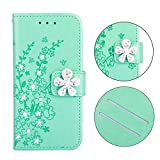 Anzeal Galaxy S9 Plus Case, 3D Bling [Flower Embossing] Premium PU Protective Leather Case/Flip Case/Wallet Case Phone Case for Samsung Galaxy S9 Plus Green