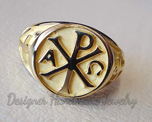 Yellow gold vermeil ringchi rho anchor cross christ christian symbol heavy man ring made to order fine jewelry full insured and wood box, 925 sterling silver ring, men's huge ring, men's signet ring