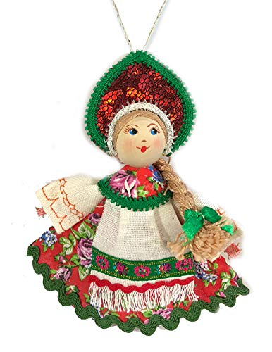 (Religious Gifts Russian Doll with Kokoshnik Wooden Face Christmas Ornament 5 Inch)