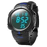 Skmei Military Mens Sport Simple Design Digital LED Screen Large Numbers Waterproof Casual Watch Blue