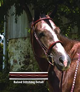 Perris Professional Fancy Stitched Padded Hunter Bridle - Size:Cob Color:Chestnu