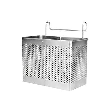 BESTONZON Soporte rectangular para palillos de acero inoxidable Colgador Cubiertos Secador Cesta Vajilla Escurridor con ganchos (compartimentos ...