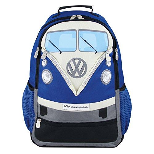 VW Collection by Brisa Laptop Rucksack mit VW Bulli T1 Front, 30 L Blau