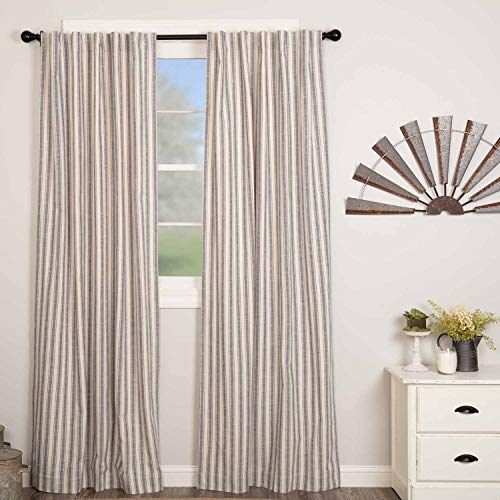 - Market Place Blue Ticking Stripe Panel Curtains, Set of 2, 84