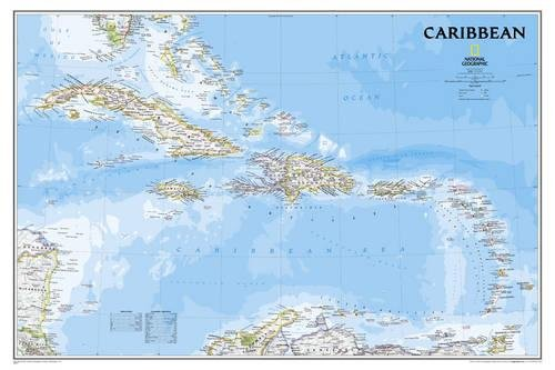 National Geographic: Caribbean Classic Wall Map - Laminated (36 x 24 inches) (National Geographic Reference Map)