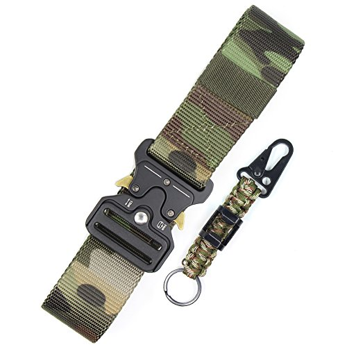 Tactical Belt for Men Camo Nylon Webbing Utility Belt Military Battle Gun Belt Heavy Duty Work Belt Metal Buckle Riggers Belt Quick Release Cobra EDC Belt Holster Belt for Police and Army