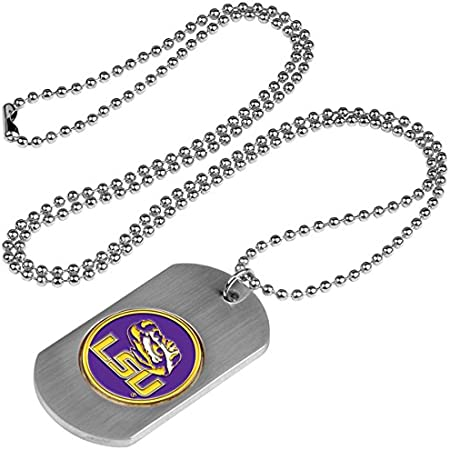 LSU Tigers Geaux Tigers NCAA College Football Silver Dog Tag Key Chain Free Ship