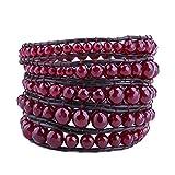 KELITCH Red Beaded on Gray Brown Leather Charm 5 Wrap Bracelet Handmade New Top Jewelry