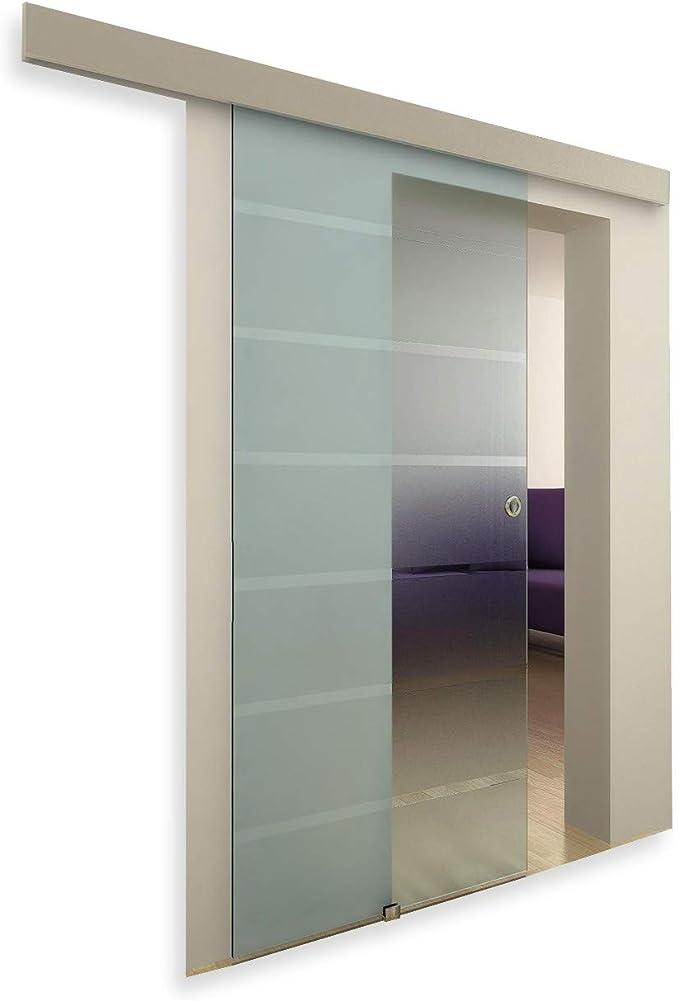 Puerta corredera de vidrio, con marco, Dépoli-opaque, 117: Amazon.es: Hogar