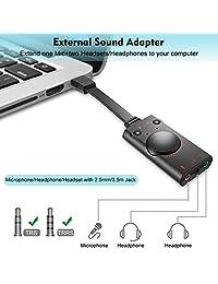 Adaptador de tarjeta de sonido USB, adaptador de tarjeta de sonido de audio USB 2.0 externo para computadora de escritorio, laptop, sistema operativo Windows, Mac, Linux, listo para usar sin necesidad de controladores