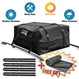 18.5 Cubic Ft 100% Waterproof Roof Cargo Bag Storage Space Dual Seam & Sturdy Straps Heavy Duty Top Carrier Storage Box 3Year Warranty Bonus 1 Rooftop Protective Mat Fit for Cars with/Without Racks