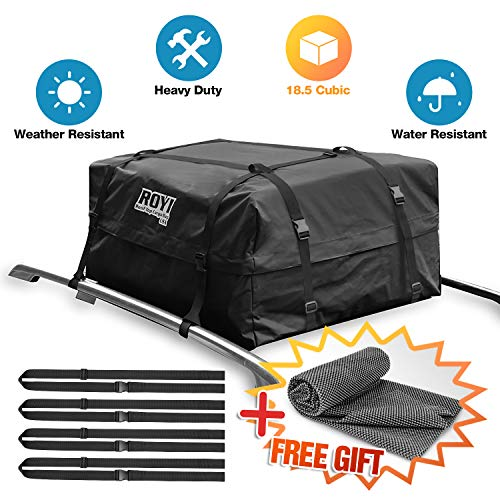 - 18.5 Cubic Ft 100% Waterproof Roof Cargo Bag Storage Space Dual Seam & Sturdy Straps Heavy Duty Top Carrier Storage Box 3Year Warranty Bonus 1 Rooftop Protective Mat Fit for Cars with/Without Racks