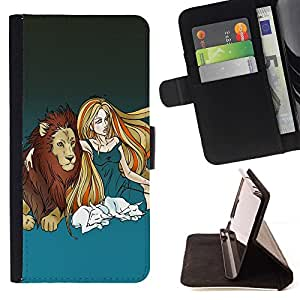 DEVIL CASE - FOR HTC One M9 - Lion & Blond Girl - Style PU Leather Case Wallet Flip Stand Flap Closure Cover