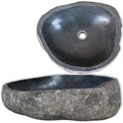 Festnight Artistic Oval Bathroom Vessel Sink, Natural Handmade Wash Basin River Stone Sink
