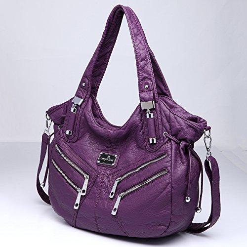 Púrpura para mujer al Piel Angelkiss hombro Bolso de qwfWHxXA0g
