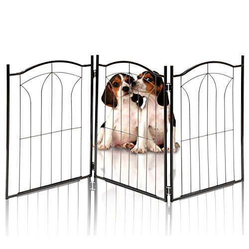 KLEEGER KLG-125 Metal Pet Gate, Foldable & Freestanding, for Indoor Home & Office Use. Keeps Pets Safe [Arch Decorative Design]. Easy Set Up, No Tools Required. ...