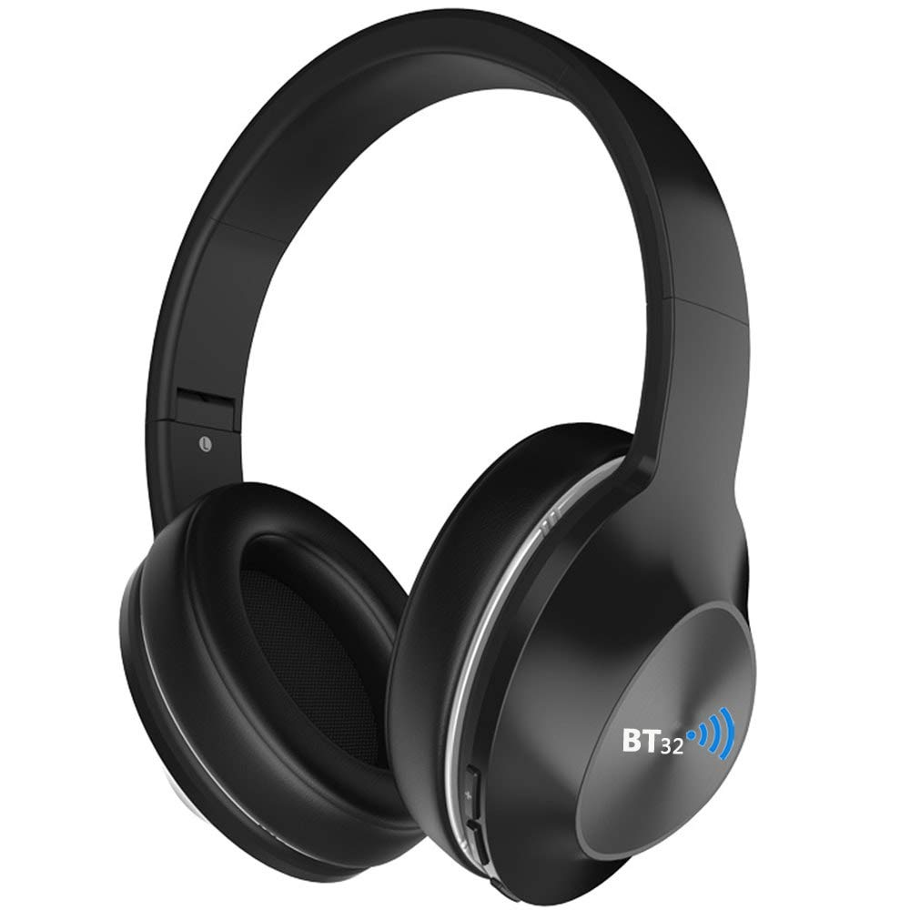 BT32 Mach 5.0 Active Noise Cancelling Bluetooth Headphones with Deep Bass, Mic, Over Ear Comfort Fit, 30H Playtime for Travel, Work, TV, PC, Cellphone, or Tablet - Black