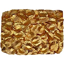 ZXUY 1000 PCS Fabric Silk Flower Rose Petals Wedding Party Decoration Table Confetti - Gold