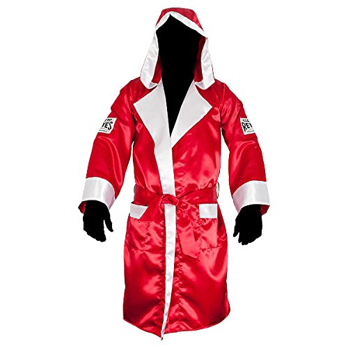 Cleto Reyes Satin Boxing Robe with Hood - Large - Red/White by Cleto Reyes