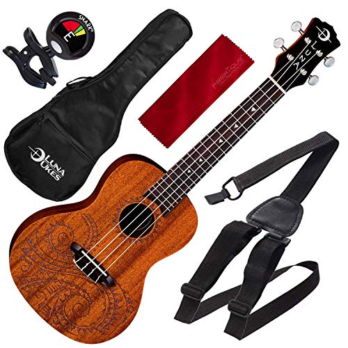 Luna Uke Tattoo Concert Acoustic Mahogany Ukulele with for sale  Delivered anywhere in USA