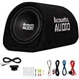 Acoustic Audio by Goldwood ACA8T Powered Amplified 8 Car Subwoofer 400W with Wiring Kit and Remote Level Control, Black