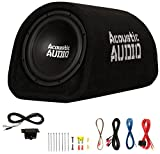 """Acoustic Audio by Goldwood ACA8T Powered Amplified 8"""" Car Subwoofer 400W with Wiring Kit and Remote Level Control, Black"""