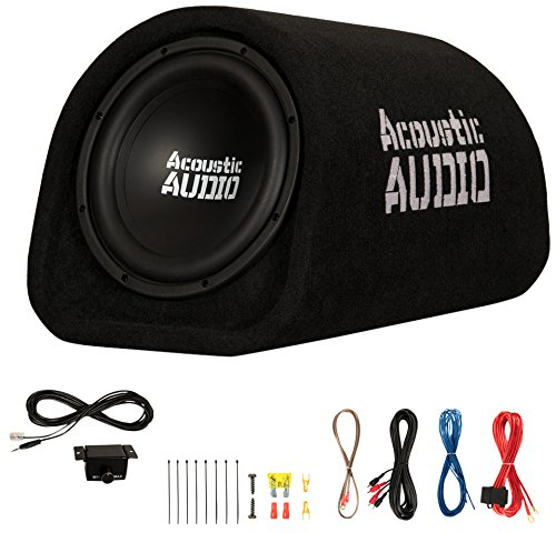 "Acoustic Audio by Goldwood ACA8T Powered Amplified 8"" Car Subwoofer 400W with Wiring Kit and Remote Level Control, Black"