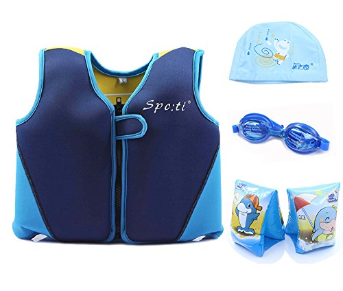 Genwiss Child's Swim Large Life Jacket 5-7 Years Blue and Yellow include Swim Arm Band and Swimming Goggles and Swim Cap