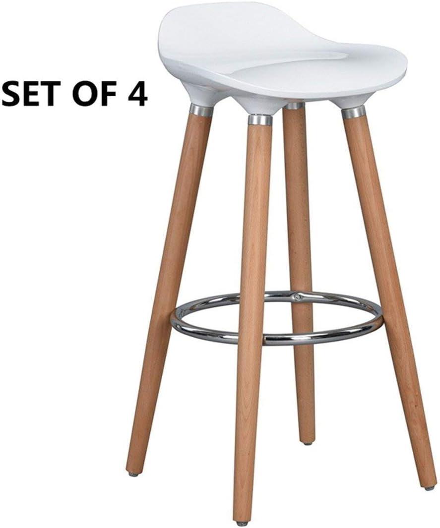 sgabello da cucina per colazione con gambe in legno sgabello da banco stile moderno FurnitureR set di 2 sgabelli da bar 4 pezzi White