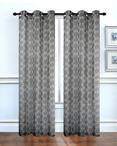 84' Sheer (Dainty Home Lace Delight Printed Sheer Grommet Window Panel Pair, 76 x 84'', Black)
