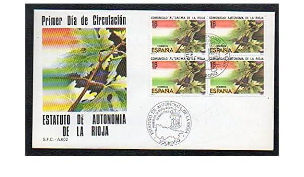 Filatelia. SPD. SOBRE PRIMER DÍA DE CIRCULACIÓN. ESTATUTO DE AUTONOMÍA DE LA RIOJA. S.F.C.- A. 602.: Amazon.es: Correos España.: Libros