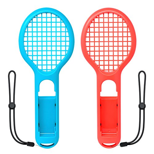 FastSnail Tennis Racket Compatible with Nintendo Switch Joy-con, Accessories for Mario Tennis Aces Game, Grips Compatible with Switch Joy-con (Blue and Red)