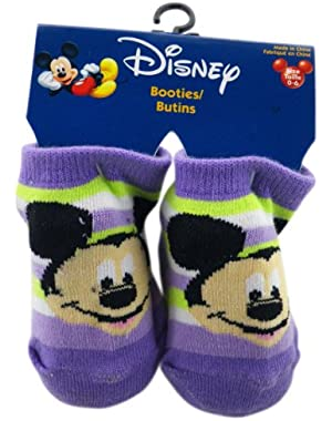 Purple Mickey Mouse Booty Socks (Size 0-6 Months) - 1 Pair Mickey Mouse Socks