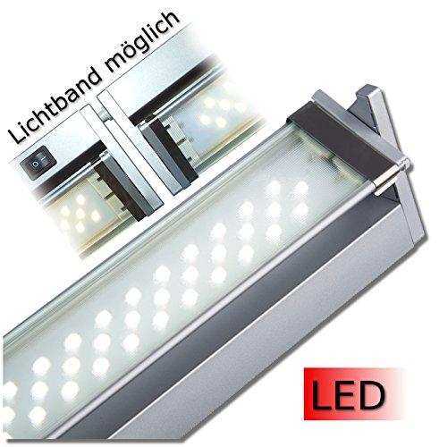 Küchen- und Vitrinenleuchte Vitrinenlampe LED in den Längen 350 mm - 1212 mm / 230 V Schwenkbereich 45° aluminium neutralweiß mit Stecker Wippschalter und Dekorglasscheibe schwenkbare Leuchteinheit Hochvolt Anbauleuchte Anbaulampe Beleuchtung Flächenleuchte Unterbauleuchte Küchenleuchte Küchenlampe Unterbau (580 mm)