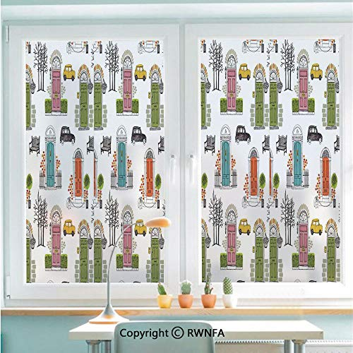 RWNFA Removable Static Decorative Privacy Window Films Vintage House Doors Art Pattern City Collage Entrance Dog Car Gate Home Bench for Glass (22.8In. by 35.4In),White Pink Green Blue