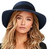 FURTALK Womens Beach Sun Straw Hat UV UPF50 Travel Foldable Brim Summer UV Hat (Large Size (22.4