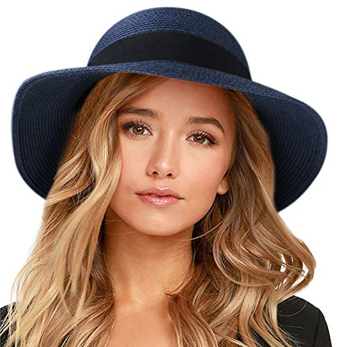 "FURTALK Womens Beach Sun Straw Hat UV UPF50 Travel Foldable Brim Summer UV Hat (Medium Size (21.8""-22.4""), New-Navy Blue)"