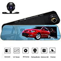 4.3 inch Full HD 1080P Dash Cam | Car Video Camera | driving recorder with Dual Lens for Vehicles| Front & Rearview Mirror Car DVR with G-Sensor, Loop Recording