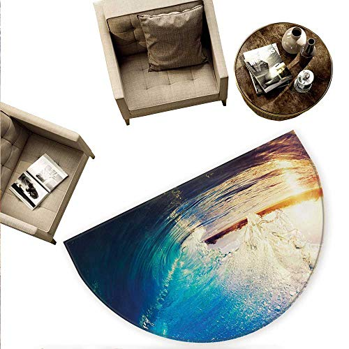 Ocean Semicircle Doormat Sunrise on Waves Surfer Perspective Surreal Coastal Charm Sports Lifestyle Scene Halfmoon doormats H 78.7