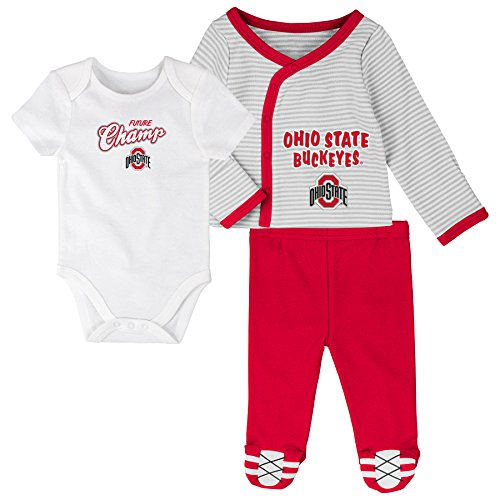Ohio State Buckeyes 5 Piece (OuterStuff NCAA Ohio State Buckeyes Newborn Future Champ 3 Piece Onesie Shirt and Pants Set, White, 3-6 Months)