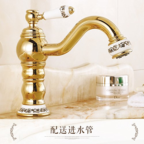 16 LHbox Basin Mixer Tap All copper european style golden basin pink gold bluee enamel hot and cold redary antique table basin chrome faucet, God is chrome plated with high