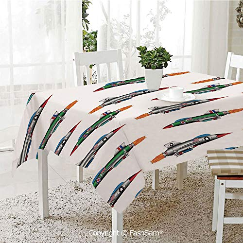 FashSam 3D Dinner Print Tablecloths Collection of Jet Fighters Rocket Aviation Attack Fire Bombers Missile Modern UK Model Print Tablecloth Rectangle Table Cover for Kitchen(W60 ()