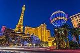 Las Vegas Strip at Twilight & Paris Hotel Casino Photo Art Print Poster 18x12