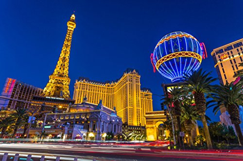 Sands Casino Las Vegas (Las Vegas Strip at Twilight & Paris Hotel Casino Photo Art Print Poster 18x12 inch)