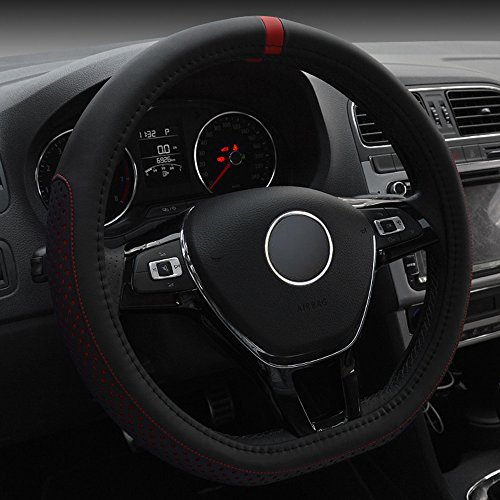 FULL WERK D Type Fashionable Microfiber Leather Steering Wheel Cover Sporty Style, Durable, Anti-Slip, 15
