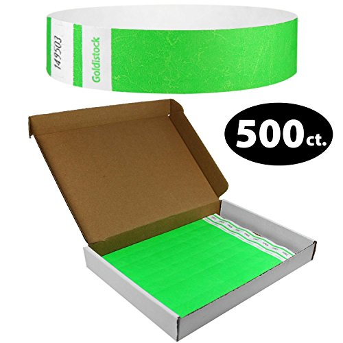 Goldistock Select Series with Box - Tyvek Wristbands Day Glow Neon Green 500 Count - 3/4