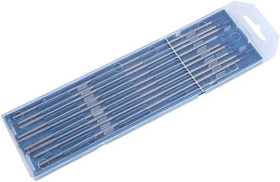 Electrodos de soldadura, 10pcs Electrodos de soldadura de tungsteno Electrodo de Lanthanated Punta azul 1.0/1.6/2.4mm(2.4 x 175mm): Amazon.es: Bricolaje y herramientas
