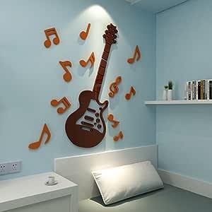 Guitarra Estéreo 3D etiqueta de la pared música salón de clases ...