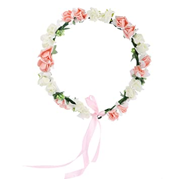 Amazon.com   AWAYTR Flower Wreath Headband Floral Crown Garland Halo for  Wedding Festivals (White+Peachy Pink)   Beauty edd0e291800